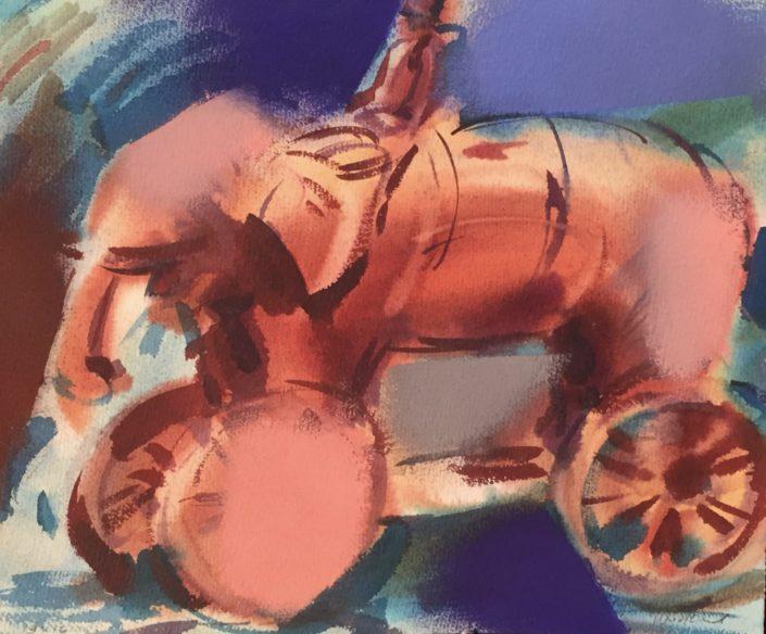 Elephant on wheels by George Woollard