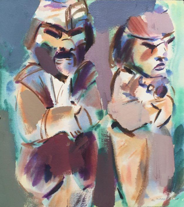 Two Figures by George Woollard